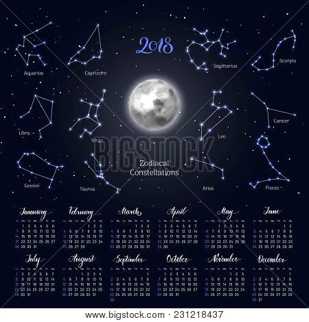 Calendar, Moon, Zodiac Constellations, 2018, Night Sky Background, Lettering. Wall Planner In Astrol