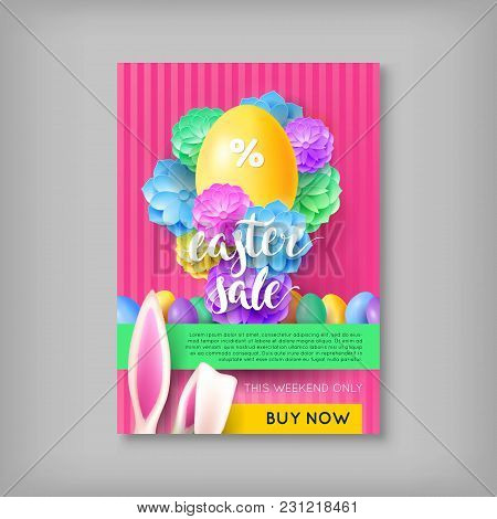 Limited Time Card Easter Sale. Colorful Banner With Discounts For Festive Event. Vector Illustration