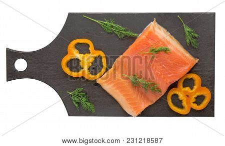 Red Fish Trout Fillets On A Plate. Fish Trout  Isolated On White Background. Trout With Dill, Lemon