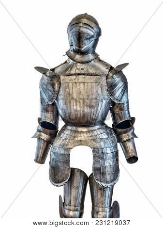 Medieval knight armor suit shot on white