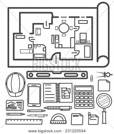 Architectural Studio Icons Vector Illustration. Building Project, Design And Construction Management