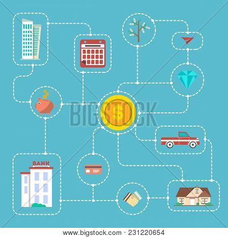 Investment Infographic Concept Vector Illustration. Smart Investment In Securities, Buying And Renti