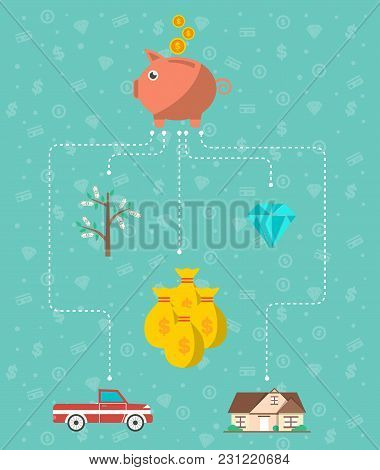 Investment Infographic Concept Vector Illustration. Smart Investment In Securities, Commercial Real