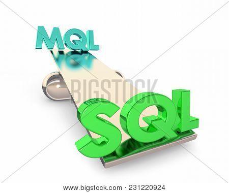 MQL SQL Marketing Sales Qualified Leads Balance 3d Illustration