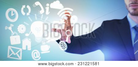 Cropped image of businessman touching index finger on invisible screen against abstract blue background