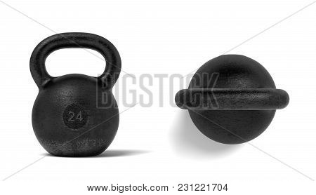 3d Rendering Of Two Black Metal 24 Kg Kettlebells, One In Front View And One In Top View. Sports Equ