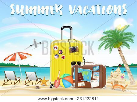 Summer Vacation With Travel Bag On Sea Sand Beach