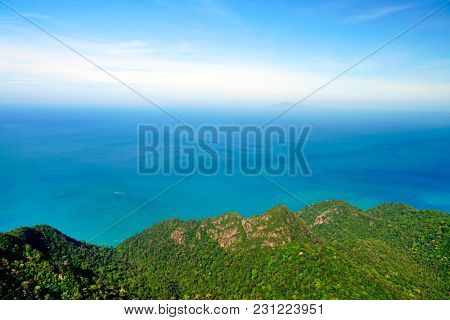 Panoramic view of blue sky sea and mountain seen from Cable Car viewpoint, Langkawi, Malaysia