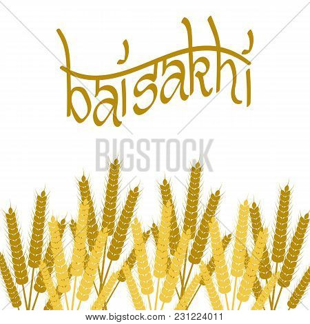 Holiday Baisakhi. New Year Of The Sikhs. Bunchs Of Wheat. Lettering Name Of The Holiday