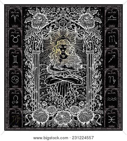 White Silhouette Of Fantasy Zodiac Sign Virgo In Gothic Frame On Black. Hand Drawn Engraved Illustra