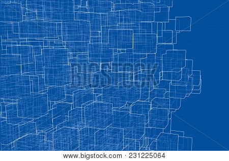 Vector Abstract Boxes Background. Vector Rendering Of 3d. Wire-frame Style. The Layers Of Visible An
