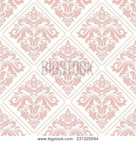 Orient Vector Classic Pattern. Seamless Abstract Background With Pink Vintage Elements. Orient Backg