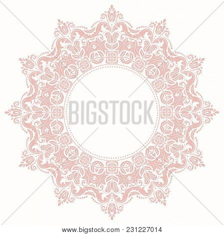 Oriental Vector Pattern With Light Pink Arabesques And Floral Elements. Traditional Classic Ornament