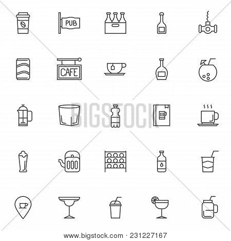 Drinks Outline Icons Set. Linear Style Symbols Collection, Line Signs Pack. Vector Graphics. Set Inc