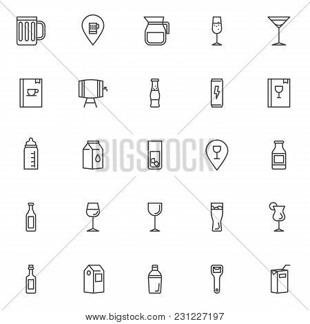 Drinks And Beverages Outline Icons Set. Linear Style Symbols Collection, Line Signs Pack. Vector Gra