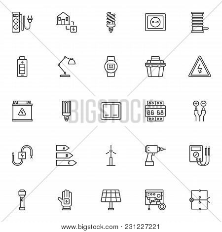 Electrician Outline Icons Set. Linear Style Symbols Collection, Line Signs Pack. Vector Graphics. Se