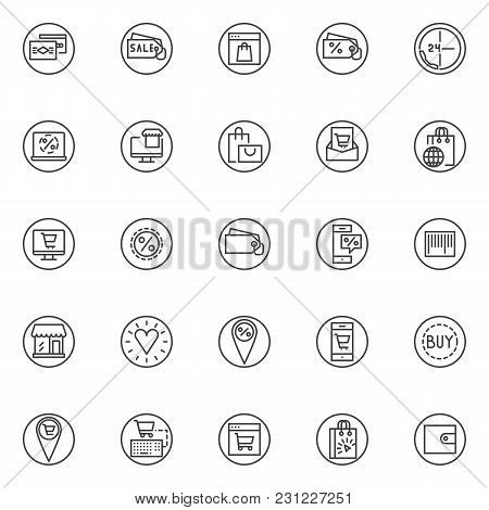 Ecommerce Elements Outline Icons Set. Linear Style Symbols Collection Line Signs Pack. Vector Graphi