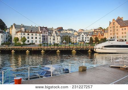 Waterfront Of Alesund - Famous Northern Tourist Norwegian City, In The Last Century, Here The Marine