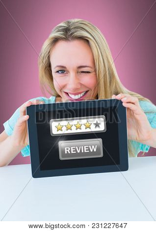Digital composite of Woman holding tablet with star ratings review button