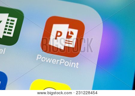 Sankt-petersburg, Russia, March 14, 2018: Microsoft Office Powerpoint Application Icon On Apple Ipho