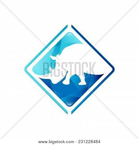 Animals Negative Space Style Design. Rhinoceros Negative Style Logo Vector.