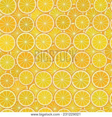 Orange Slices Simple Seamless Pattern With A Piece Of Orange Citrus Fruit On An Orange Background. V