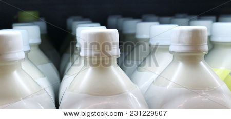 Close Up Shot Of Bottles With Milk Product