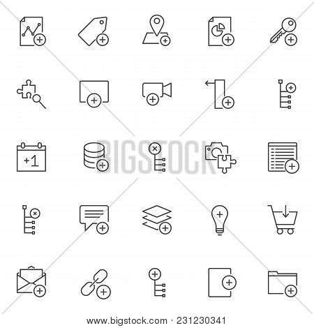 Add Elements Outline Icons Set. Linear Style Symbols Collection, Line Signs Pack. Vector Graphics. S