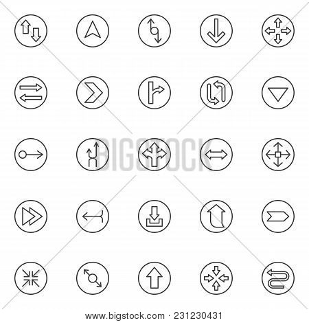 Arrows Outline Icons Set. Linear Style Symbols Collection, Line Signs Pack. Vector Graphics. Set Inc