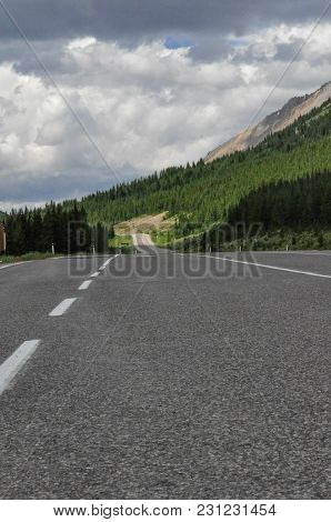 An Empty Roadway In Kananaskis Country, Kananaskis Provincial Park, Alberta.
