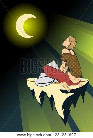 Dream Girl. Young Girl In The Moonlight. Girl On A Flying Island. Dreams. Phantasmagoric Illustratio