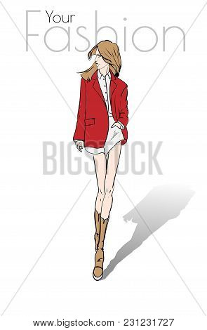 Fashion Model Posing. Beautiful Young Woman A Red Jacket. Fashion Woman. Hand Drawn Girl In  A Jacke
