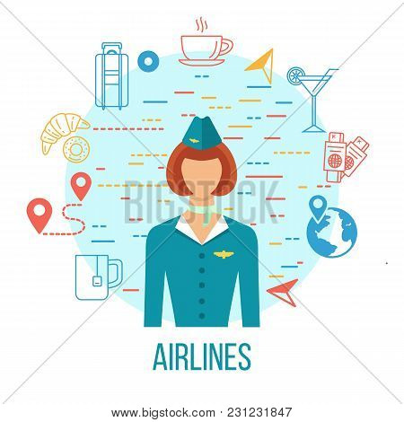 Professions Avatar Icon - Stewardess. Airlines Travel Concept Icons Set With Stewardess. Luggage, Tr