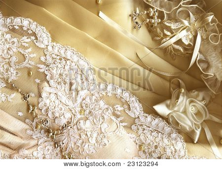 Golden textile wedding background