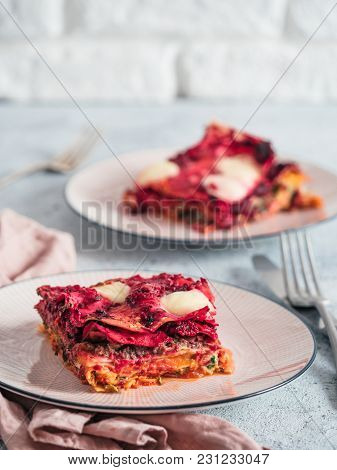 Vegetable Packed Rainbow Lasagne On Pink Plate. Ideas And Recipes For Healthy Vegetarian Dinner Or L