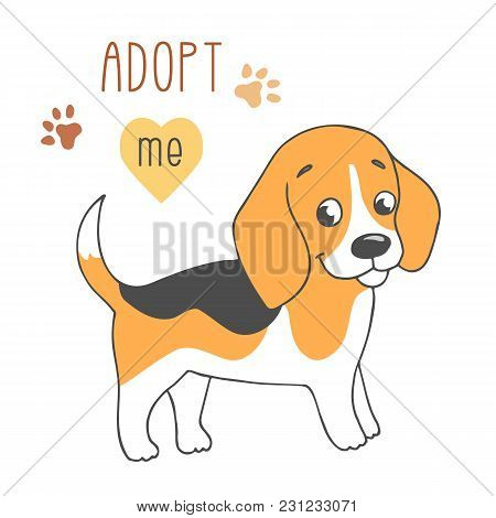 Cute Dog With Adopt Me Text. Pet Adoption. Help Homeless Animal Concept. Cartoon Character On White