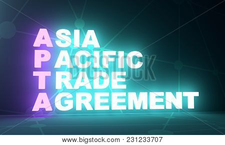 Acronym Apta - Asia Pacific Trade Agreement. Business Conceptual Image. 3d Rendering. Neon Bulb Illu