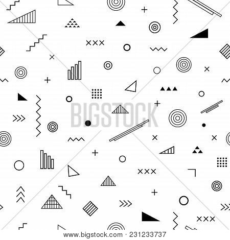 Seamless Pattern With Memphis Style. Abstract Geometric Background With Different Geometrical Shapes