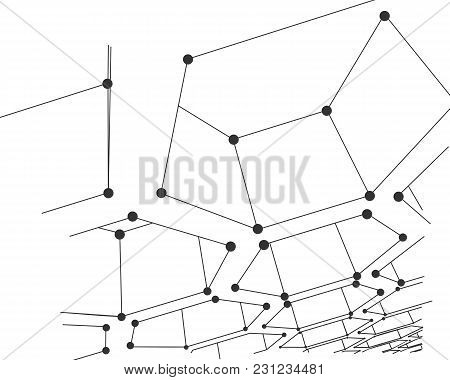 Perspective View On Honeycomb. Hexagon Pattern Background. Isometric Geometry. Molecule And Communic