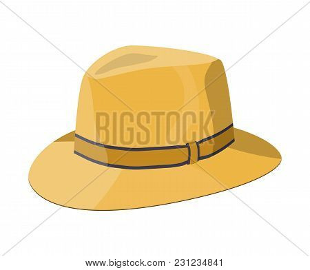 Men Straw Hat. Straw Sunhat Isolated On White. Yellow Summer Bonnet. Vector Illistration In Flat Sty