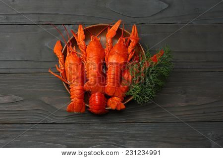 Crawfish On Dark Wooden Background With Copy Space. Beer Brewery Concept. Beer Background