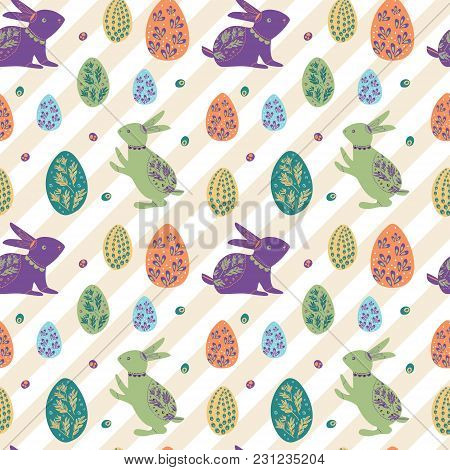 Rabbit And Egg Pattern For Kids. Cute And Bright Pattern For Brand Who Has Fun And Happy Style. Repe