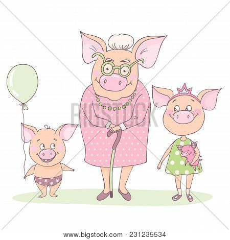 Cute And Pretty Pig Grandmother With Her Grandson And Granddaughter. Granny Is Standing And Leaning