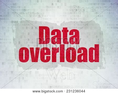 Data Concept: Painted Red Text Data Overload On Digital Data Paper Background With   Tag Cloud
