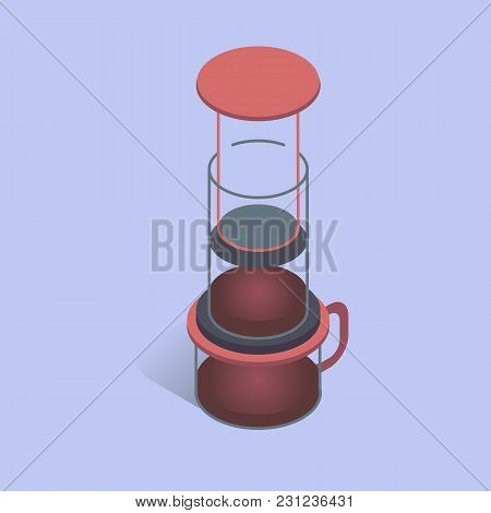 Vector Illustration With 3d Coffee Aeropress. Coffee Maker In Isometric Flat Style On Blue Backgroun