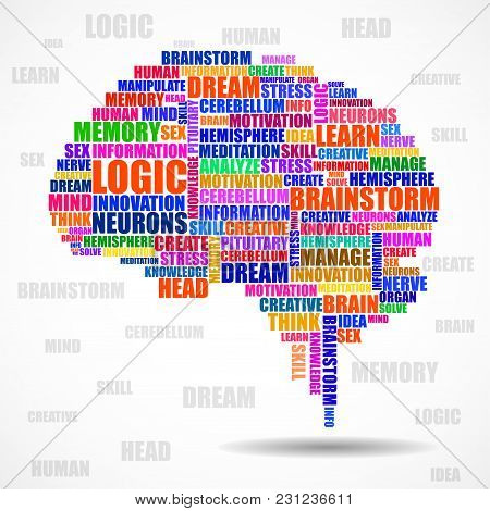 Abstract Colorful Silhouette Human Brain Of Words