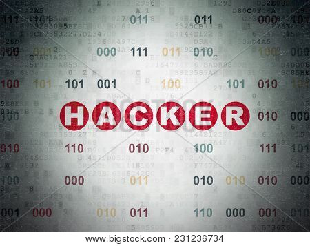 Privacy Concept: Painted Red Text Hacker On Digital Data Paper Background With Binary Code