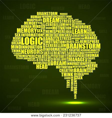 Abstract Silhouette Human Brain Of Words. Vector