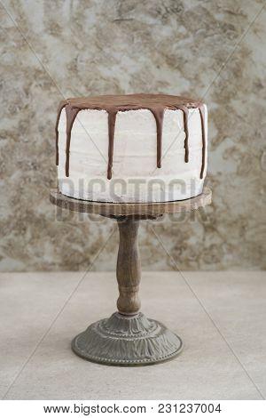 Naked Buttercream Layer Chocolate Drip Wedding Cake