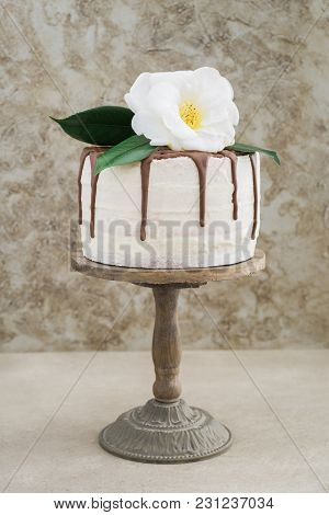 Naked Buttercream Layer Chocolate Drip Wedding Cake Decorated With A Camellia